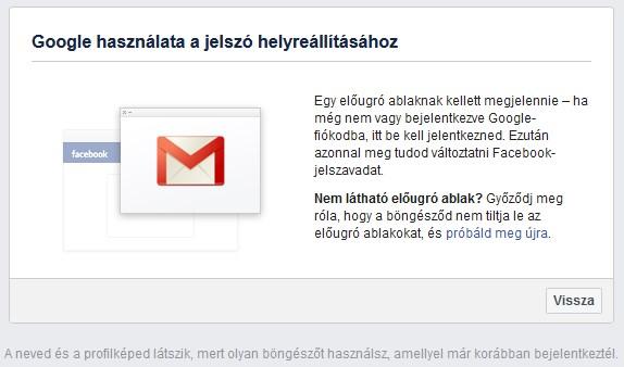 Facebook Google használata a jelszó helyreállításához panel