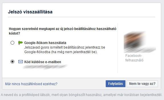 Facebook jelszó visszaállítása emailben doboz