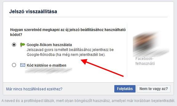 Facebook jelszó visszaállítása doboz