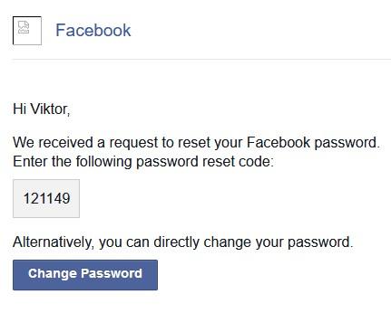 Facebook jelszó visszaállító email