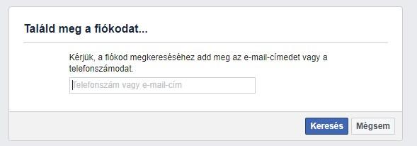 Facebook Találd meg a fiókodat ablak