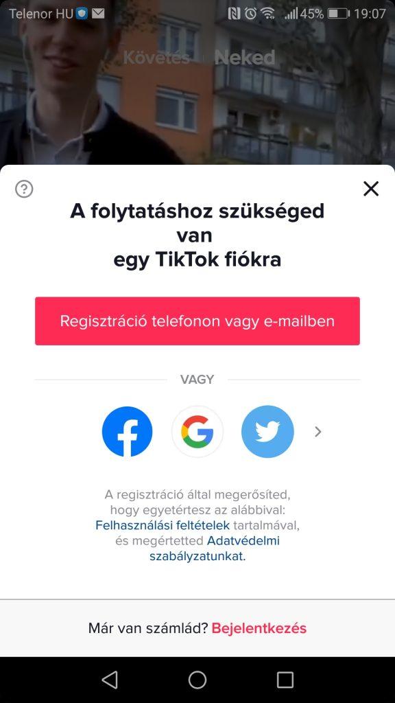 TikTok regisztráció