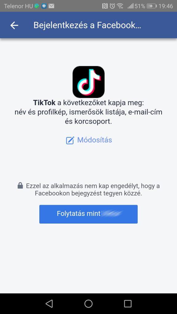 TikTok Facebook regisztráció