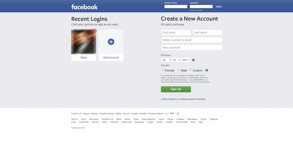 Facebook log in with previously used profile