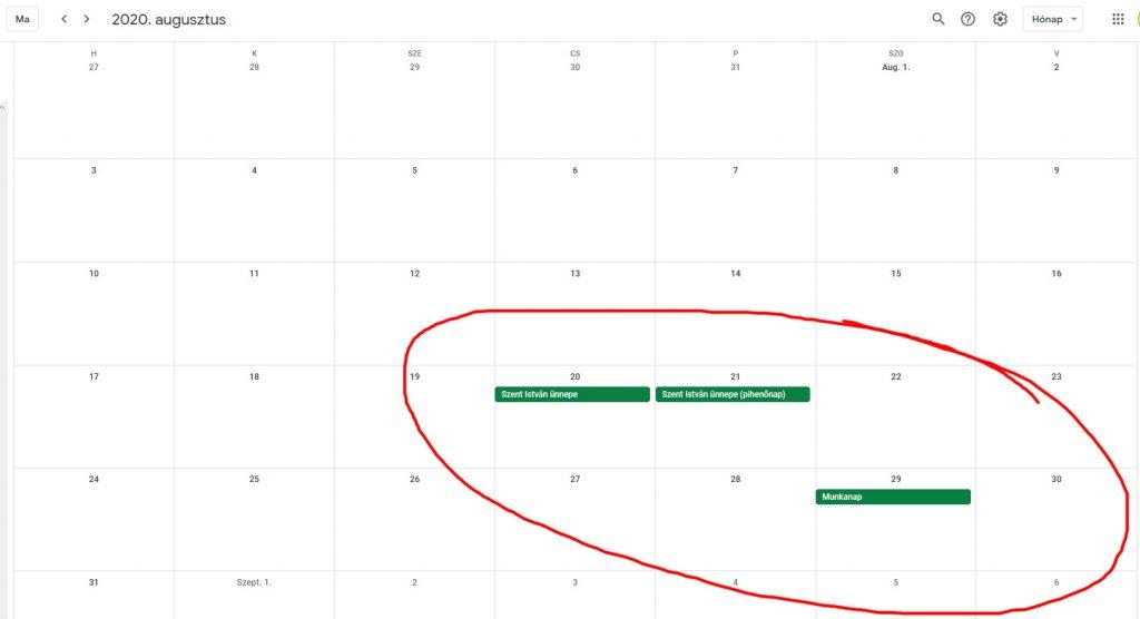munkaszüneti napok 2020 a Google Calendarban