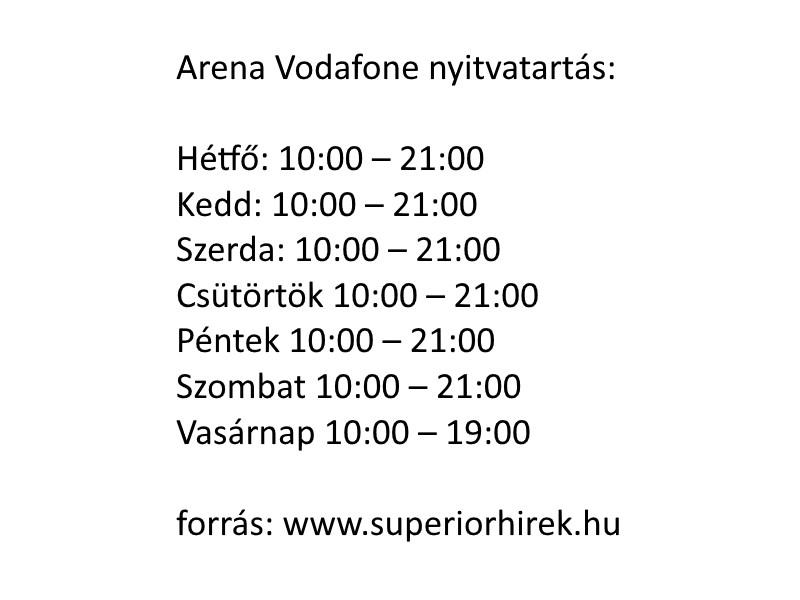Arena Vodafone nyitvatartás
