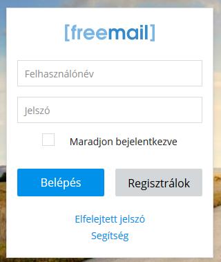 a Freemail.hu belépés űrlapja