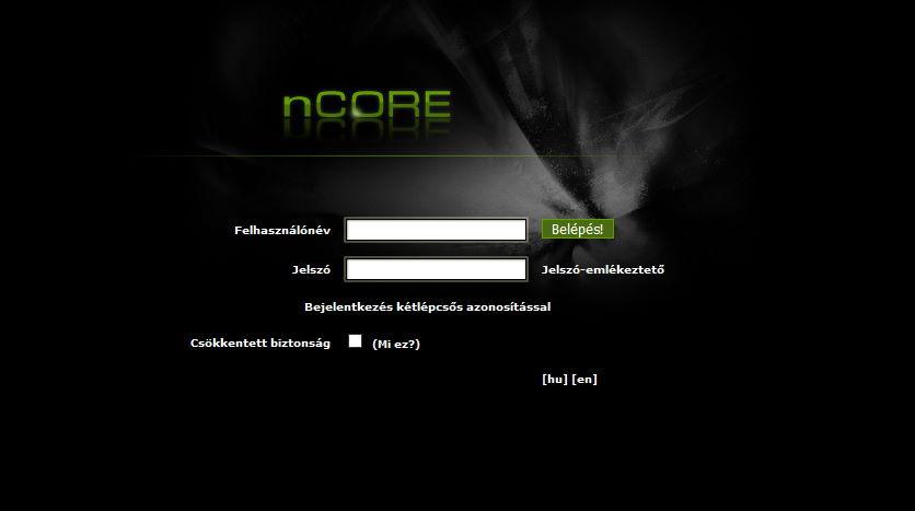 az ncore torrent tracker főoldala